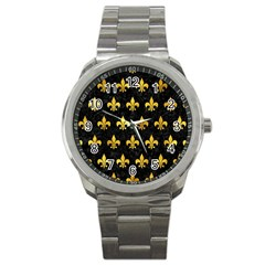 Royal1 Black Marble & Gold Paint Sport Metal Watch by trendistuff