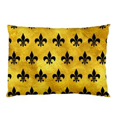Royal1 Black Marble & Gold Paint (r) Pillow Case by trendistuff