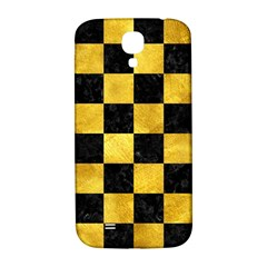 Square1 Black Marble & Gold Paint Samsung Galaxy S4 I9500/i9505  Hardshell Back Case by trendistuff