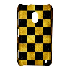 Square1 Black Marble & Gold Paint Nokia Lumia 620 by trendistuff