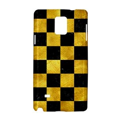 Square1 Black Marble & Gold Paint Samsung Galaxy Note 4 Hardshell Case by trendistuff