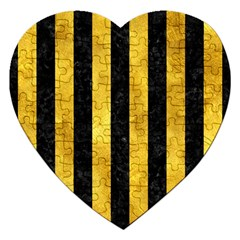 Stripes1 Black Marble & Gold Paint Jigsaw Puzzle (heart) by trendistuff