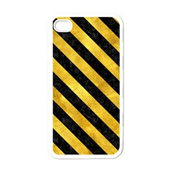 Stripes3 Black Marble & Gold Paint Apple Iphone 4 Case (white)