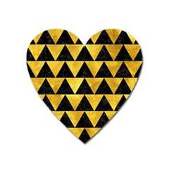 Triangle2 Black Marble & Gold Paint Heart Magnet by trendistuff
