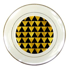 Triangle2 Black Marble & Gold Paint Porcelain Plates by trendistuff