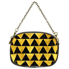 Triangle2 Black Marble & Gold Paint Chain Purses (one Side)  by trendistuff