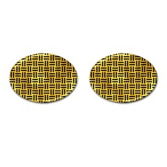 Woven1 Black Marble & Gold Paint Cufflinks (oval) by trendistuff