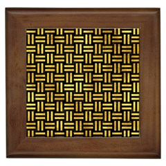 Woven1 Black Marble & Gold Paint (r) Framed Tiles by trendistuff