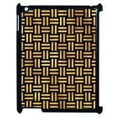 Woven1 Black Marble & Gold Paint (r) Apple Ipad 2 Case (black) by trendistuff