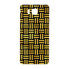 Woven1 Black Marble & Gold Paint (r) Samsung Galaxy Alpha Hardshell Back Case by trendistuff