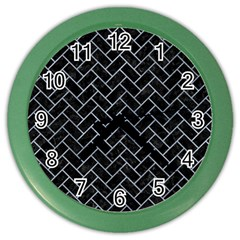 Brick2 Black Marble & Silver Paint (r) Color Wall Clocks by trendistuff
