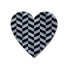 Chevron1 Black Marble & Silver Paint Heart Magnet by trendistuff