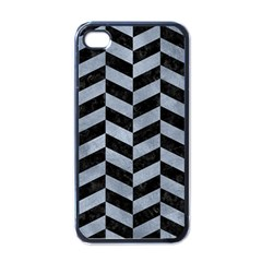 Chevron1 Black Marble & Silver Paint Apple Iphone 4 Case (black) by trendistuff