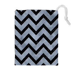 Chevron9 Black Marble & Silver Paint Drawstring Pouches (extra Large) by trendistuff