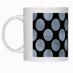 Circles2 Black Marble & Silver Paint (r) White Mugs by trendistuff