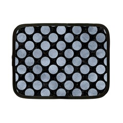 Circles2 Black Marble & Silver Paint (r) Netbook Case (small)  by trendistuff