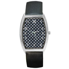 Circles3 Black Marble & Silver Paint Barrel Style Metal Watch by trendistuff