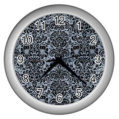 Damask2 Black Marble & Silver Paint Wall Clocks (silver)  by trendistuff