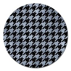 Houndstooth1 Black Marble & Silver Paint Magnet 5  (round) by trendistuff