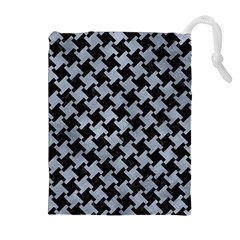 Houndstooth2 Black Marble & Silver Paint Drawstring Pouches (extra Large) by trendistuff