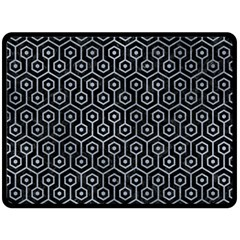 Hexagon1 Black Marble & Silver Paint (r) Fleece Blanket (large)  by trendistuff