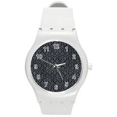 Hexagon1 Black Marble & Silver Paint (r) Round Plastic Sport Watch (m) by trendistuff
