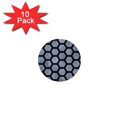 Hexagon2 Black Marble & Silver Paint 1  Mini Buttons (10 Pack)  by trendistuff