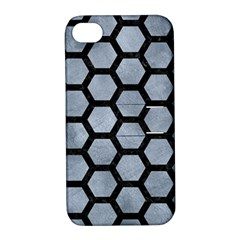 Hexagon2 Black Marble & Silver Paint Apple Iphone 4/4s Hardshell Case With Stand by trendistuff