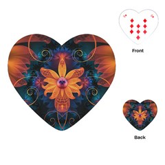 Beautiful Fiery Orange & Blue Fractal Orchid Flower Playing Cards (heart)  by beautifulfractals