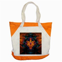 Beautiful Fiery Orange & Blue Fractal Orchid Flower Accent Tote Bag by beautifulfractals