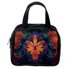 Beautiful Fiery Orange & Blue Fractal Orchid Flower Classic Handbags (one Side) by jayaprime