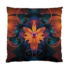 Beautiful Fiery Orange & Blue Fractal Orchid Flower Standard Cushion Case (two Sides) by beautifulfractals