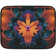Beautiful Fiery Orange & Blue Fractal Orchid Flower Fleece Blanket (mini) by beautifulfractals