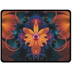 Beautiful Fiery Orange & Blue Fractal Orchid Flower Double Sided Fleece Blanket (large)  by jayaprime