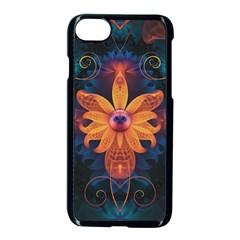 Beautiful Fiery Orange & Blue Fractal Orchid Flower Apple Iphone 7 Seamless Case (black) by jayaprime