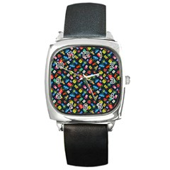 Christmas Pattern Square Metal Watch by tarastyle