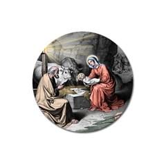 The Birth Of Christ Magnet 3  (round) by Valentinaart