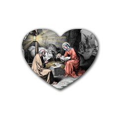 The Birth Of Christ Heart Coaster (4 Pack)  by Valentinaart