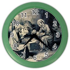 The Birth Of Christ Color Wall Clocks by Valentinaart