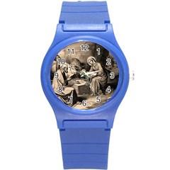 The Birth Of Christ Round Plastic Sport Watch (s) by Valentinaart