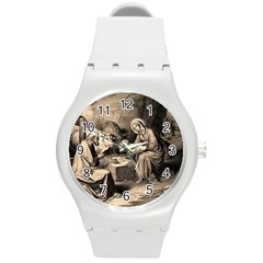 The Birth Of Christ Round Plastic Sport Watch (m) by Valentinaart