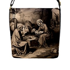 The Birth Of Christ Flap Messenger Bag (l)  by Valentinaart