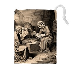 The Birth Of Christ Drawstring Pouches (extra Large) by Valentinaart
