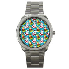 Christmas Pattern Sport Metal Watch by tarastyle