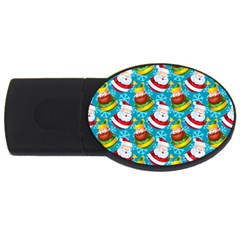 Christmas Pattern Usb Flash Drive Oval (4 Gb) by tarastyle