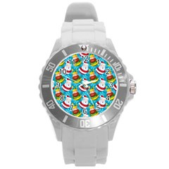 Christmas Pattern Round Plastic Sport Watch (l) by tarastyle