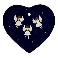 Christmas Angels  Heart Ornament (two Sides) by Valentinaart