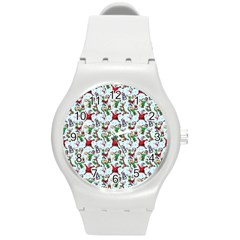 Christmas Pattern Round Plastic Sport Watch (m) by tarastyle