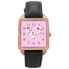 Christmas Angels  Rose Gold Leather Watch  by Valentinaart