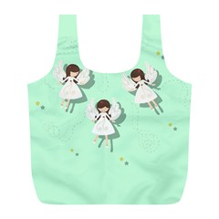 Christmas Angels  Full Print Recycle Bags (l)  by Valentinaart